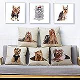 Funda de cojín Juego de 5 Funda de Almohada de Lino Cute Pet Dog...