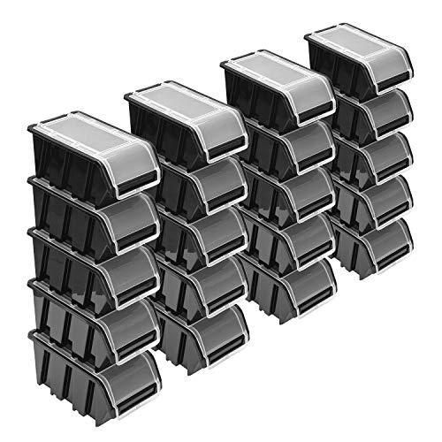 Stapelboxen Set – 20x Stapelbox mit Deckel 195x120x90 mm – Sichtbox Stapelbox Lagerbox, Schwarz