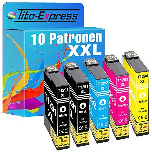 Tito-Express Juego de 10 cartuchos de tinta compatibles con Epson T1291-T1294 12XL con 18 ml negro y 18 ml cada color XXL SX-230 SX-445 W BX-305 FW SX-420 W SX-425 W SX-420 BX-305 FW Plus B-42 WD