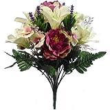 FS Bouquet de Fleurs de lys artificielles en Soie Mauve et crème 44 cm