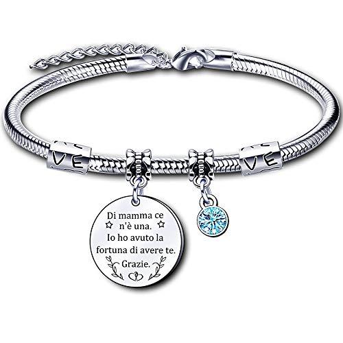 regalo festa della mamma,Bracciale Mamma donna Braccialetto madre Regalo di Compleanno braccialetto di mamma (1)