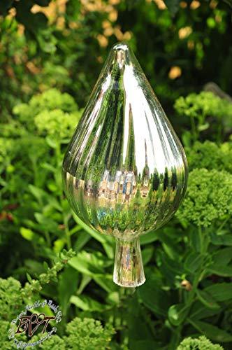 Glas-Deko für Garten,Blüten und Zapfen, Gartenkugel Massivglas ROBUST, 33 cm gross Form Tropfen, edler Tropfen handgefertigt silber Sonnenfänger für Lichteffekte im Garten, Rosenkugel Gartenkugel Son