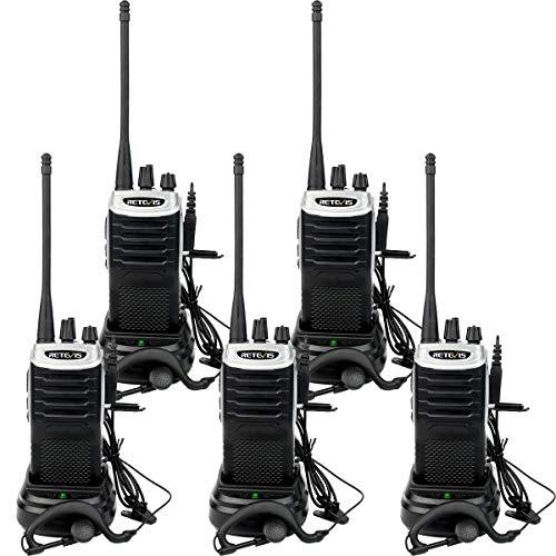 Retevis RT7 Professional Walkie Talkie, Funkgerät mit Großer Reichweite und Headsets, Leichtes Wiederaufladbares Amateurfunkgerät mit FM VOX für den Laden, Supermarkt(Schwarz, 5 Stück)