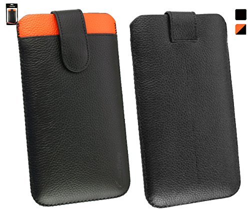 Emartbuy® Genuine Calfskin Leder Schwarz/Orange In Hülle Case/Tasche Hülle schieben (Größe 5XL) mit CRotit Card Slot und Pull Tab Mechanismus für geeignet Gionee Elife E8 6 Zoll Smartphone