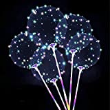 Zancybuzz 10 PCS 20 Inches Led Light Up Colorful Bobo Balloons With Stick , 3 Mode Flashing Transparent Light Balloons with Feather and Glue Tape Handle Great For Decorations, Weddings, Banquets, Outdoor and Indoor Parties, Anniversary, House Party, Family Reunion, Birthday and Event Centerpieces