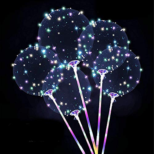 Zancybuzz 10 PCS 20 Inches Led Light Up Colorful Bobo Balloons With Stick, 3 Mode Flashing Transparent Light Balloons with Feather and Glue Tape Handle Great For Decorations, Weddings, Banquets, Outdoor and Indoor Parties, Anniversary, House Party, Family Reunion, Birthday and Event Centerpieces
