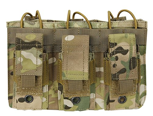 Tactical 5.56 Triple Open Top Pistol Kangaroo Mag Pouch Airsoft Mag Bag Molle Magazine Holster