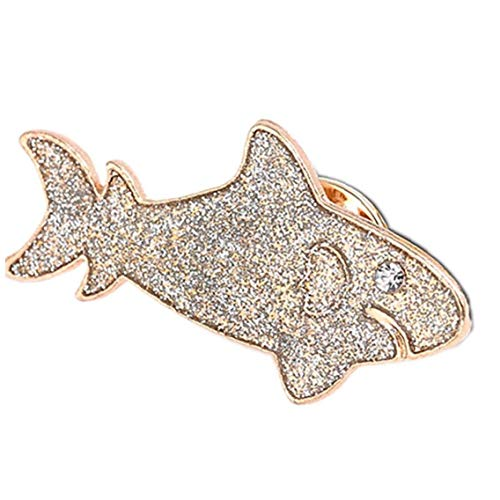 Unisex Alloy Brooch Cute Sequins Shark Chest Pin Animals Badge Clothing Lapel Pin Accessories