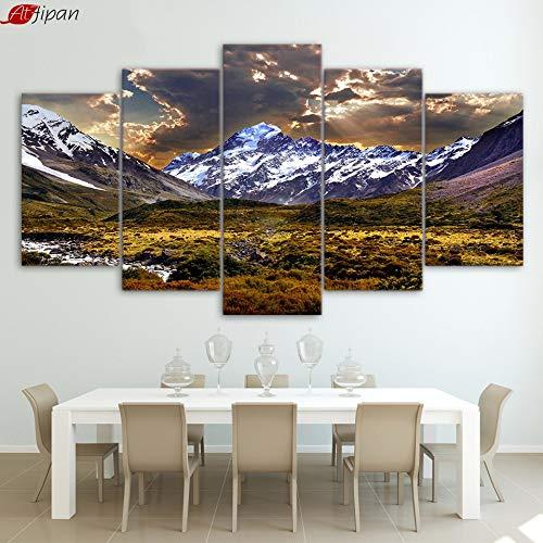 hllhpc (No Frame) canvas decoratie thuis hemel ijs bergen landschap natuur voor woonkamer (40 x 60 x 80 x 100 x 100 cm