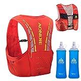 TRIWONDER Mochila de Hidratación 5L Ligero Superior Chaleco para Trail Running Ciclismo Marathoner Profesional Hombre Mujer (Nananja y Rojo - con 2×450ml Botellas de Agua, M/L:90-102 cm)