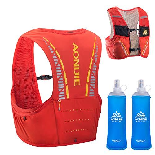TRIWONDER Sac Trail Ultra Léger 5L Gilet Running Sac d'Hydratation Veste VTT pour Marathon Randonnée Cyclisme Homme Femme (Rouge & Orange - avec 2 Bouteilles d'eau Souple, M/L - 90-102 cm)