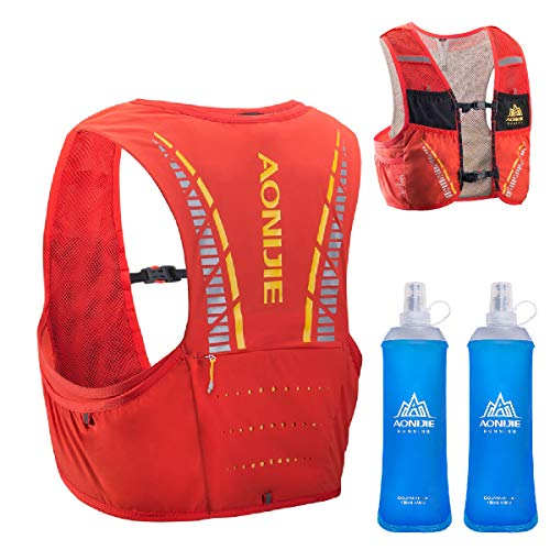TRIWONDER Sac Trail 5L Sac d'hydratation Running Gilet Hydratation Trail Sac à Dos Veste Running Léger pour Marathon Homme Femme (Rouge & Orange - avec 2 Bouteilles d'eau Souple, L/XL - 102-115 cm)
