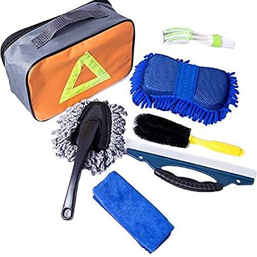 Hete-supply 7PCS auto reinigingsgereedschap Kit met tas auto wasset, auto band borstel/chenille wassen spons/stofzuiger/venster water schraper/wassen doek/dubbele hoofd auto ventilatie borstel