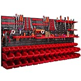Wall-mounted storage system - 170 x 78 cm - Tool holder - 50 pieces Modular storage shelf for tools with storage boxes