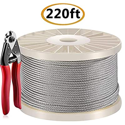 220 Feet T316 1/8'' Stainless Steel Aircraft Wire Rope for Cable Railing Kit, Stair Railing, DIY Balustrade, 7x7 Strand Core 1780 lb Breaking Strength