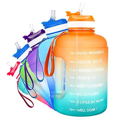 QuiFit Botella de 2,2 l con estampado: Botella grande para beber con ánimo y pajita, para fitness, gimnasio, viajes, correr, a prueba de fugas, botella de agua, sin BPA, color verde y azul 2,2