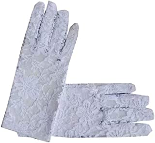 DDWW 2 Pcs Women Lace Gloves Short Lace Glove Floral Lace Gloves for Wedding Tea Party Costume White
