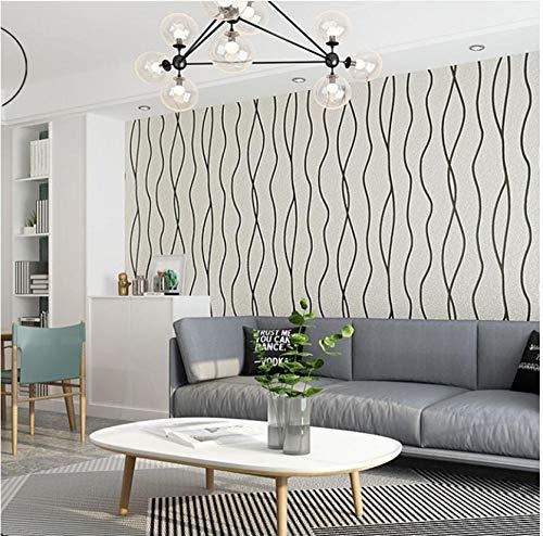 3D Papel Pintado No Tejido En blanco y negro mural Papel Pintado Curva moderna flocada Arte Moderno Diseño Salón TV Fondo De Pantalla Papel Tapiz para Las Paredes del Dormitorio