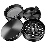 iLC Grinder for Spice, Tobacco & Herb with Pollen Catcher 2 Inch - Made of Durable Zinc Alloy- 4 Chambers - Diamond Shaped Teeth (Black)