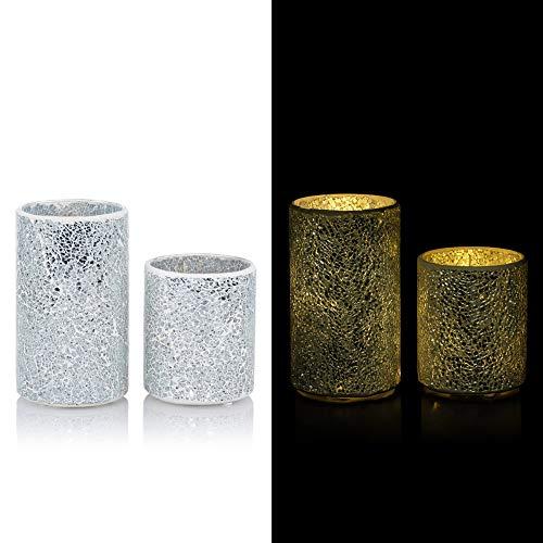 2 dekorative Windlichter aus Mosaik Glas mit LED Lichterkette und Timer - Set (Silber)
