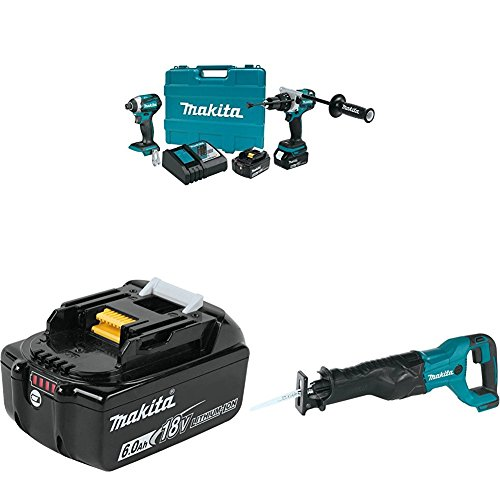 Makita XT268T 5.0Ah 18V LXT Lithium-Ion Brushless Cordless Combo Kit (2 Piece) with BL1860B 18V LXT Lithium-Ion 6.0 Ah Battery with XRJ04Z 18V LXT Lithium-Ion Cordless Reciprocating Saw