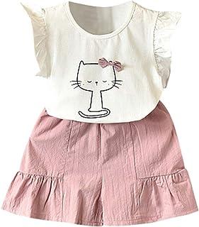 Ropa Beb/é Ni/ñas 2PC Raya Volantes Chaleco Camiseta+Pantalones Cortos Trajes Conjunto de Ropa para Beb/és Ni/ños 2-7 a/ños Holatee