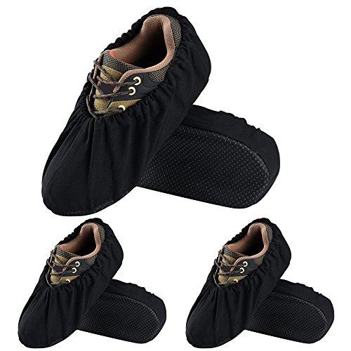 SOUMIT 3 Paare Schuhüberzieher (L 44/48 EU, Schwarz), Antirutsch AntiSlip überschuhe, Wiederverwendbar Wasserdicht Staubfrei Shoe Cover Hülle