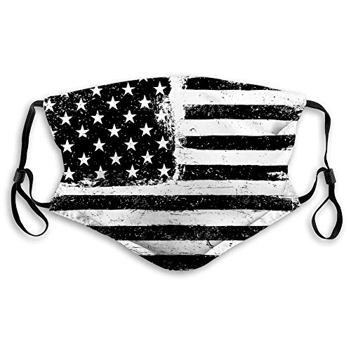 Comfortable Printed mask,United States, Grunge Aged Black and White American Flag Independence Fourth of July Design,Black and White,Windproof Facial decorations for Teens Size:S