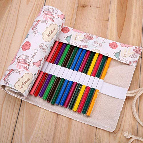 biggroup Creative Canvas Potlood Hoesje Potlood Roll Pouch Potlood Wrap Houder, voor Potloden, Pennen, Gummetje, Slijper, Markers, Haak of Gadgets (36 Gaten, Her) 36 Holes, Love in Paris