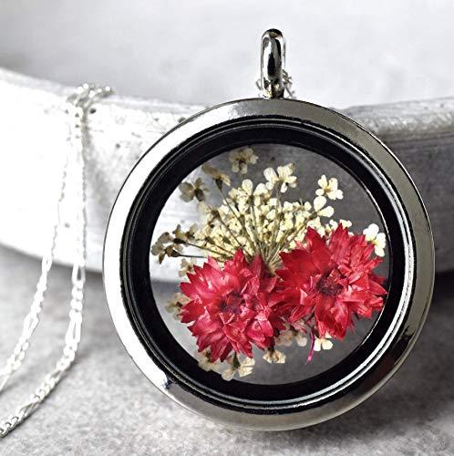 Anhänger Echte Blüten Kette 60cm - Silber 925 Sterling - Aufklappbar - Trockenblüten Medaillon