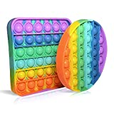 PIANETA Fidget Toy Pop it Push it, pop Bubble, endspannentes Anti Stress Spielzeug Sensorisches Spielzeug Autismus lindert Angstzustände. Für Kinder und Erwachsen ( Circle / Square 2er Set)