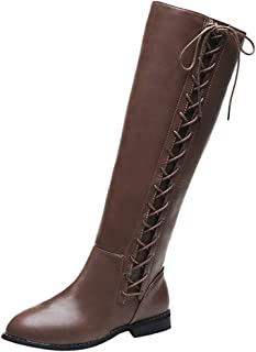 Knee Length Boots for Women,QueenMM New2020 Fashion Casual Zipper Low Heel Boot Lace-Up Autumn Winter Leather Booties Shoes