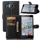 Ycloud Tasche für Nokia Microsoft Lumia 950 XL Hülle, PU Ledertasche Flip Cover Wallet Hülle Handyhülle mit Stand Function Credit Card Slots Bookstyle Purse Design schwarz