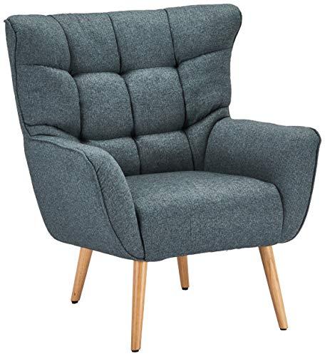 Ibbe Design Blau Bequem Ohrensessel Retro Lounge Sessel Skandinavisch Lesesessel Stoff mit Armlehnen Bruno, Sitzhöhe 47 cm, 83x86x97 cm