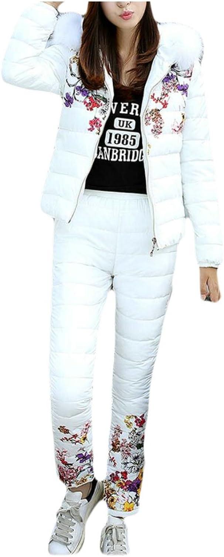 GAGA Women's Casual Slim Print Faux Fur Hoodie Quilted Jacket + Pants Two Piece Set