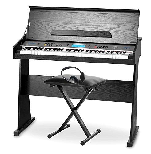 Funkey DP-61 II Digitalpiano mit Ständer, Kopfhörer, Sitz Bank (61 Keyboard Tasten, 128 verschiedene Sounds, 128 Rhythmen, 12 Demo Songs, Begleitautomatik, Record Funktion)