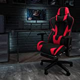 Flash Furniture X30 Gaming Chair Racing Office Ergonomic Computer Chair with Fully Reclining Back and Slide-Out Footrest in Red LeatherSoft