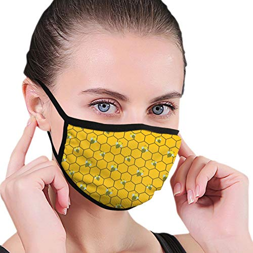 Bandana Balaclava Face Mouth Cover Mask, Bee Beehive Neck Gaiter Face Shade