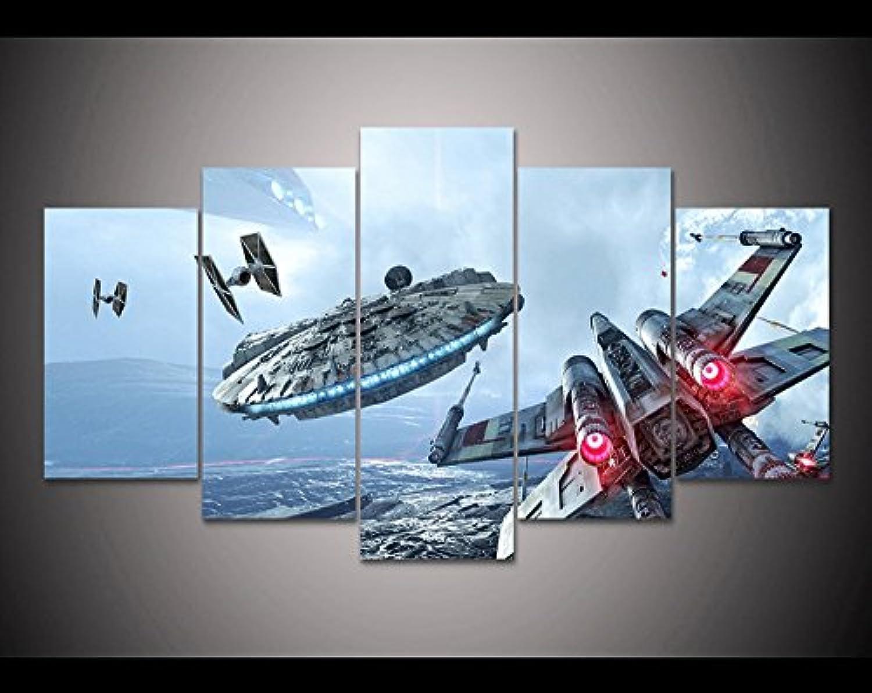 5 x gerahmt Star Wars Millennium Falcon & X-Wing Kunstdruck auf Leinwand - 5-teiliges Leinwand Star Wars Schlacht Kunstwerk auf Leinwand Wall Art für Büro und Home Decor