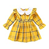 Hopscotch Baby Girls Cotton Full Sleeves Checked Printed Casual Dress in Yellow Color for Ages 6-12 Months (Tb0-3154245)
