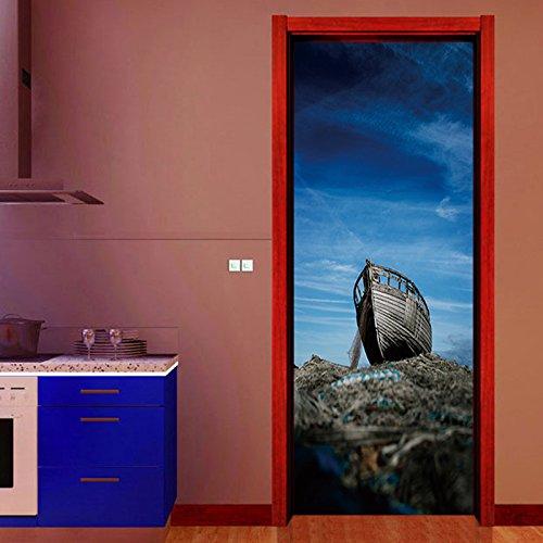 ZDDBD Sea Blue Sky Schiff Landschaft Tür 3D Wandbilder Aufkleber Tapete Raumdekoration Badezimmer Home Decals PVC 77x200cm
