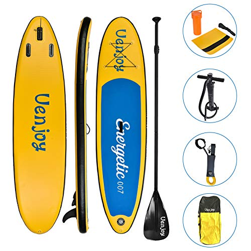 Uenjoy 11' Inflatable Stand Up Paddle Board (6 Inches Thick) Non-Slip Deck Adjustable Paddle Backpack,Pump, Repairing kit, Yellow