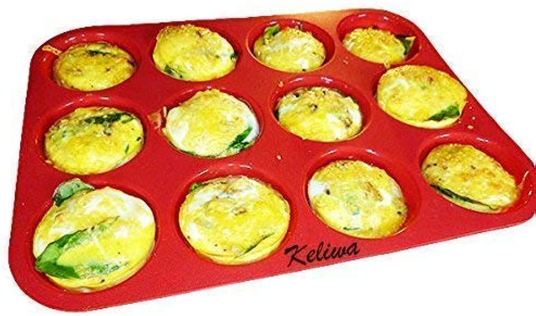 Keliwa S 12 Cup Silicone Muffin Cupcake Baking Pan Non Stick Silicone Mold Dishwasher Microwave Safe