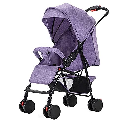GFHJ1201 Cochecito De Bebé, Cochecito Plegable para Bebé con Sombrilla, Cochecito De Bebé Portátil con Cena Intercambiable/Apoyabrazos, Anti Shock Springs Cochecito(Color:Púrpura)