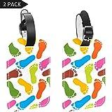 Etiquetas de Piel sintética para Maletas de Equipaje, diseño de Huellas de Pintura Humana con Fondo Colorido