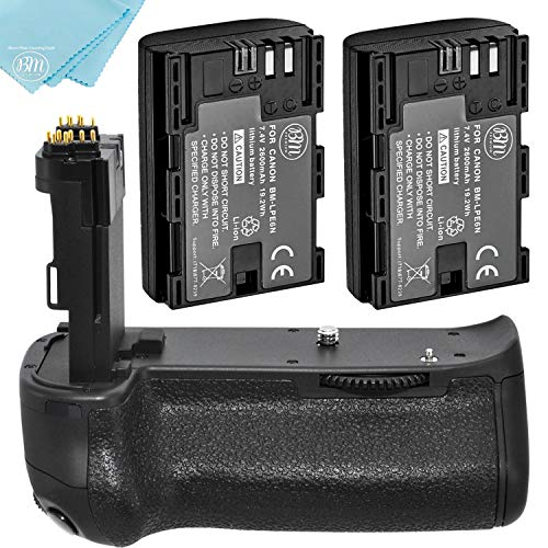 Battery Grip Kit for Canon EOS 70D, EOS 80D, EOS 90D Digital SLR Camera Includes Qty 2 BM Prmeium LP-E6 Batteries + BG-E14 Replacement Battery Grip