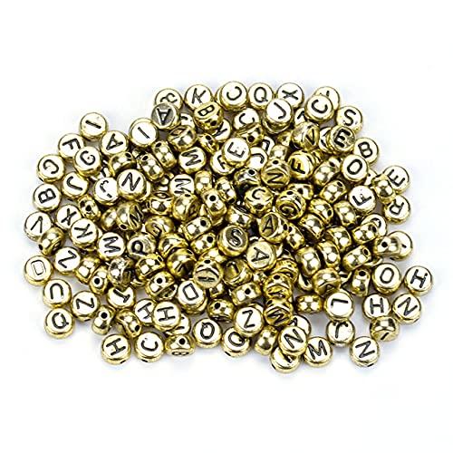 Cuentas de acrílico con letras mixtas blancas y negras de 7 mm, cuentas espaciadoras redondas y planas del alfabeto para hacer joyas, collar de pulsera hecho a mano, E (4 x 7 mm), 100 piezas