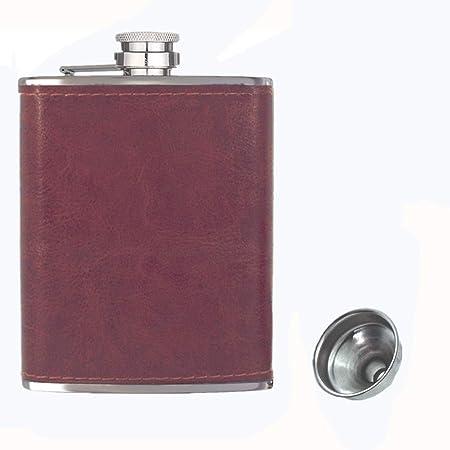 Frasco de bolsillo de la cadera de 8 onzas con embudo, frasco de alcohol, frasco de licor, 18/8 de acero inoxidable de bolsillo de cuero negro, 100% a ...