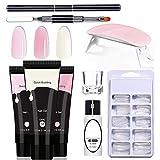 Kit de esmalte de gel, kit de inicio de uñas de gel, kit de inicio de extensión rápida de gel con 3 colores de gel UV, limas de uñas, lámparas UV para manicura de gel para principiantes.