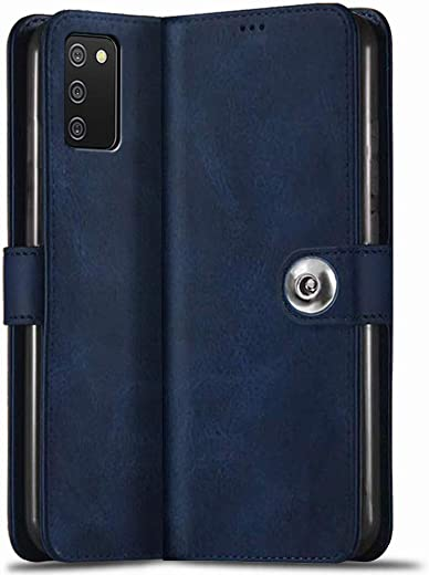 TheGiftKart Genuine Leather Finish Samsung Galaxy A03s Flip Back Cover | Inbuilt Pockets & Stand | Wallet Style | Designer Button Magnet Flip Cover…